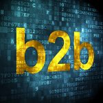 """b2b online marketing image with the word """"b2b"""" in yellow amid a background of blue blocks"""